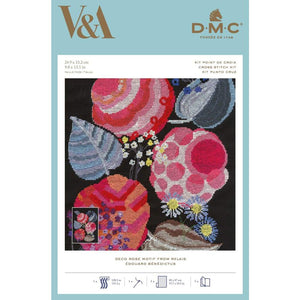 DMC V & A Art Deco Flowers Cross Stitch Kit - Deco Rose Motif from Relais (BL1195/77) - Craft