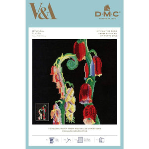 DMC V & A Art Deco Flowers Cross Stitch Kit - Foxglove Motif from Nouvelles (BL1197/77) - Craft