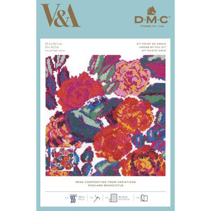 DMC V & A Art Deco Flowers Cross Stitch Kit - Rose Composition (BL1198/77) - Craft