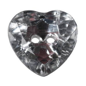 Hemline Sparkly Heart Buttons 12 mm Pack of 5