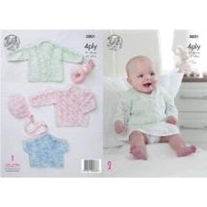 King Cole Baby 4 Ply Cardigan and Bonnet Pattern 5001 - Patterns