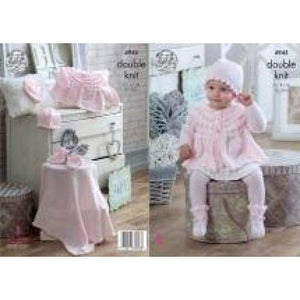King Cole Baby DK Jacket Hat Bonnet Mittens Bootees and Blanket Knitting Pattern 4945 - Patterns