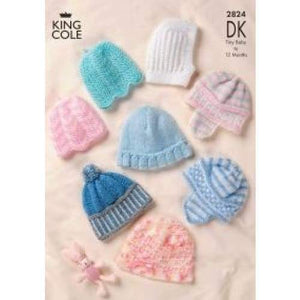 King Cole Baby Hat Knitting Pattern 2824 - Patterns