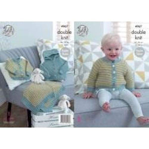 King Cole Baby Raglan Jacket Cardigan and Blanket DK Pattern 4967 - Patterns