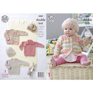 King Cole Baby Sweater Cardigan Hat and Blanket DK Knitting Pattern 5082 - Patterns