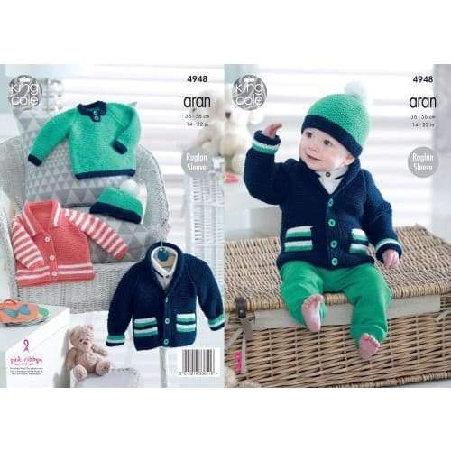 King Cole Kids Aran Jacket Sweater and Hat Knitting Pattern 4948 - Patterns