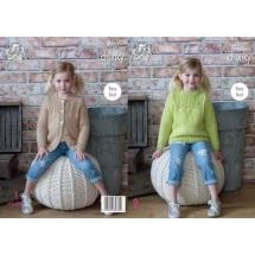 King Cole Kids Chunky Easy Knit Sweater and Cardigan Knitting Pattern 4970 - Patterns