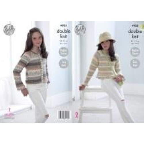 King Cole Kids DK Splash Raglan Sleeve Cardigan and Sweater Knitting Pattern 4953 - Patterns