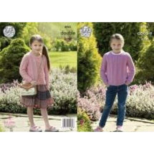 King Cole Kids Sweater and Cardigan DK Pattern 4941 - Patterns