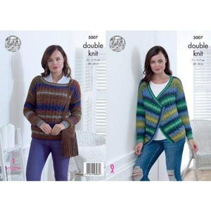 King Cole Ladies DK Cardigan and Sweater Knitting Pattern 5007 - Patterns