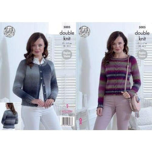 King Cole Ladies DK Sweater and Cardigan Knitting Pattern 5005 - Patterns