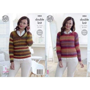 King Cole Ladies Riot DK Sweater Knitting Pattern 5004 - Patterns