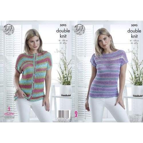 King Cole Ladies Top and Cardigan DK Knitting Pattern 5095 - Patterns