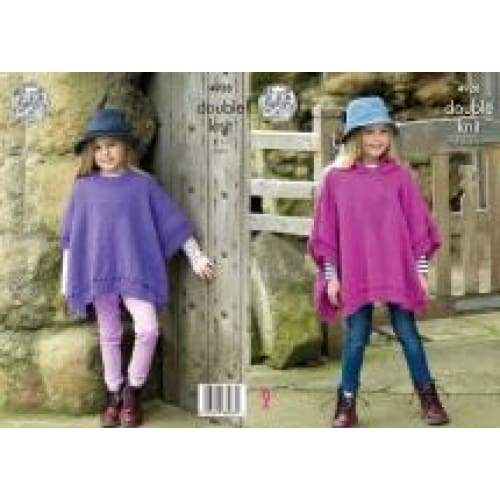 King Cole Majestic Kids DK Poncho Knitting Pattern 4928 - Patterns