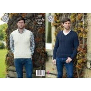 King Cole Mens Slipover and Sweater DK Pattern 4939 - Patterns
