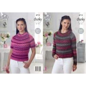 King Cole Riot Chunky Knitting Pattern 4712 - Patterns