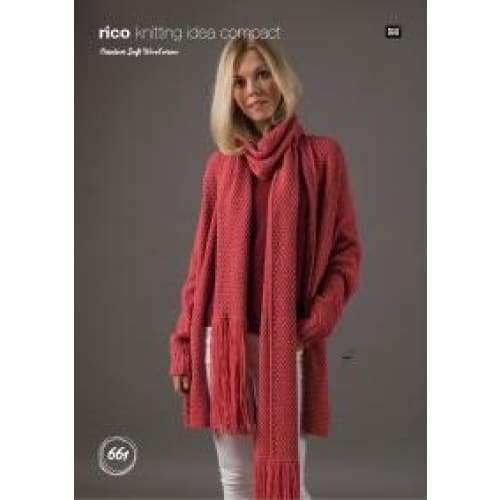 Rico Creative Soft Wool Aran Ladies Cardigan and Scarf Knitting Pattern 661 - Patterns