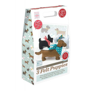 The Crafty Kit Company 3 Felt Puppies Sewing Kit - Craft