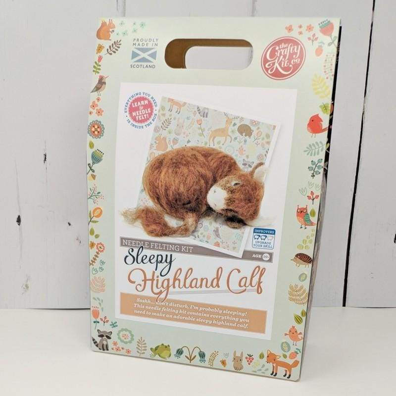 The Crafty Kit Company Sleepy Highland Calf Needle Felting Kit - Craft