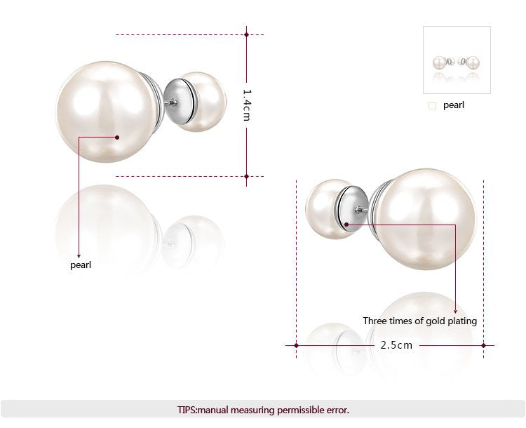 14mm Double Pearl Stud Earring - Ashley Jewels - 2
