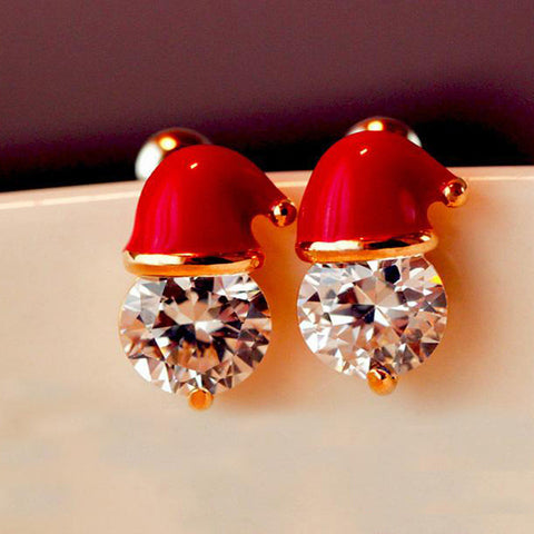 Crystal Christmas Hat Earrings - Ashley Jewels