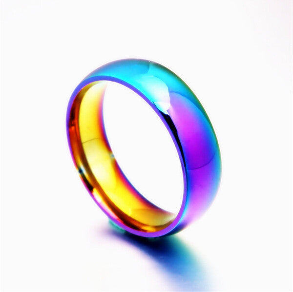 Rainbow Colorful Ring Titanium Steel Ring - Ashley Jewels - 1