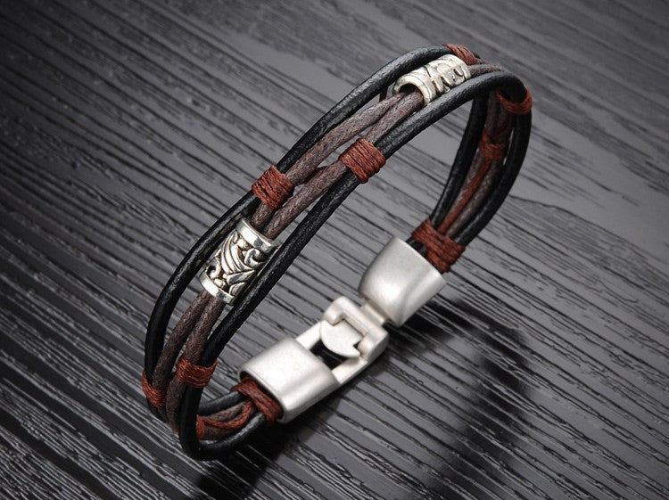 Handmade Genuine Leather Men's Bracelet - Ashley Jewels - 3