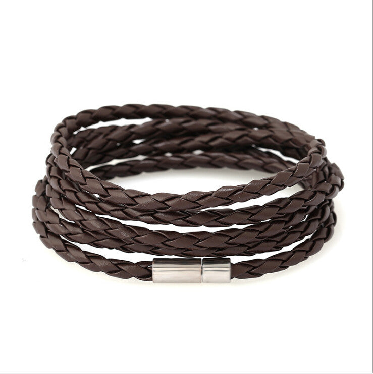 5 Laps Unisex Leather Bracelet - Ashley Jewels - 4