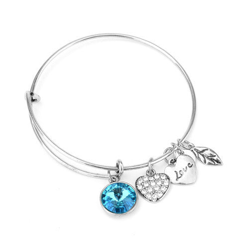 March Birthstone Charm Bangle - Ashley Jewels - 2