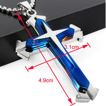 Stainless Steel Dual Tone Men's Cross Pendant - Ashley Jewels - 3