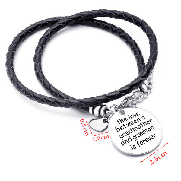 The Love Between a Grandmother and Grandson is Forever - Hand Stamped Bracelet - Ashley Jewels - 2