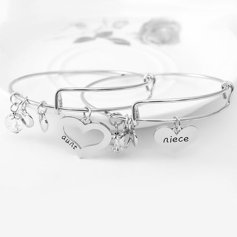 Aunt Niece Charm Bangle Set - Ashley Jewels - 1