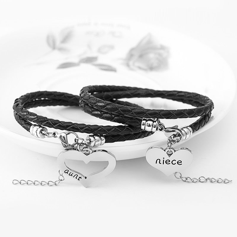 Aunt Niece Hand Stamped Bracelet Set - Ashley Jewels