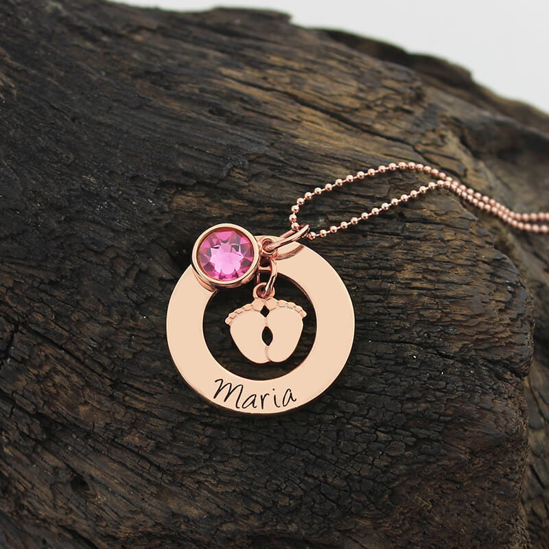 Baby Feet Necklace With Birthstone in Rose Gold Color Personalized Mother Necklace Name and Date Tag New Mom Jewelry Push Gift