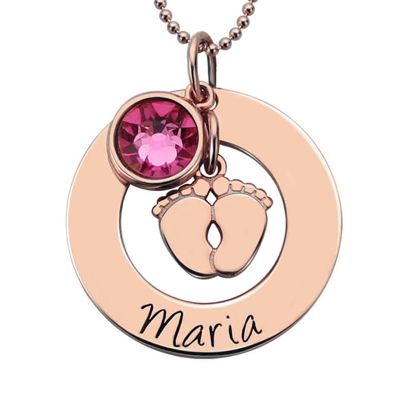 Baby Gift Jewelry For Mom : Baby feet necklace with birthstone in rose gold color