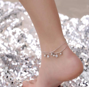 Ball And Crystal Anklet - Ashley Jewels