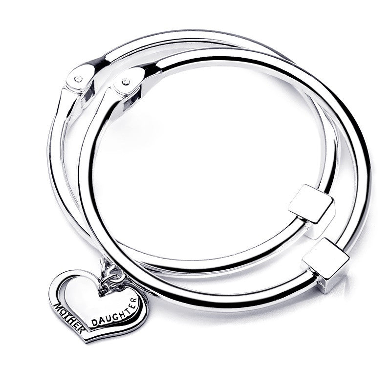 Mother Daughter Silver Heart Charm Bangle Set - Ashley Jewels - 1