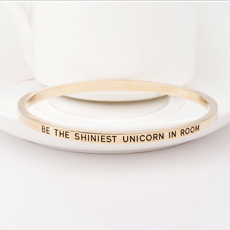 Be the Shiniest Unicorn in Room Engraved Bangle - Ashley Jewels - 4