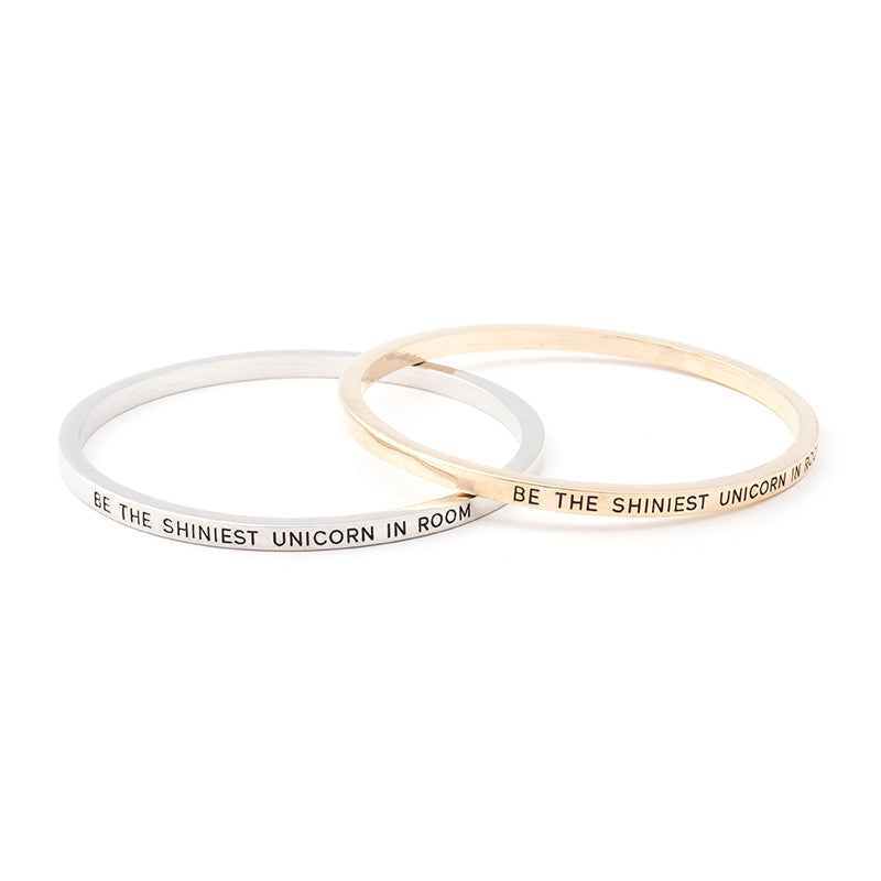 Be the Shiniest Unicorn in Room Engraved Bangle - Ashley Jewels - 3
