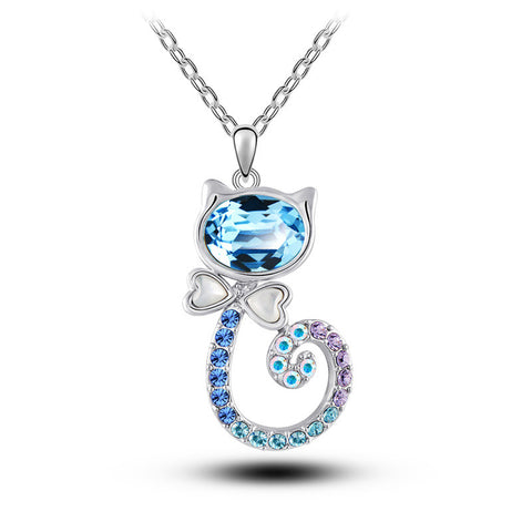 Blue Diamond Cat Necklace - Ashley Jewels