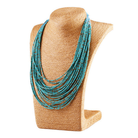 Bohemian Turquoise Bead Layered Necklace - Ashley Jewels