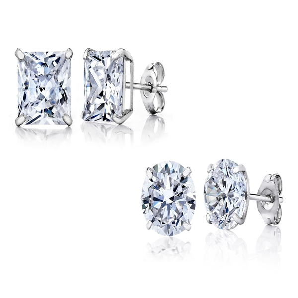 14K White Gold Stud Earrings - Ashley Jewels - 1