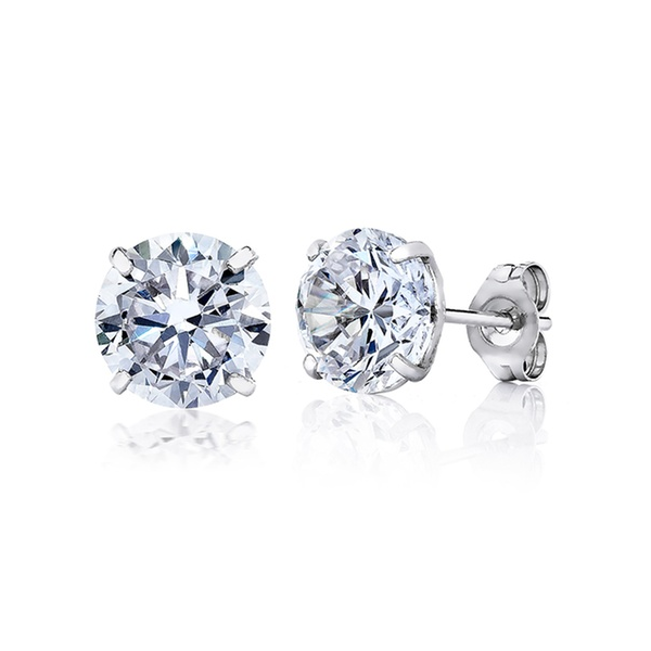 14K White Gold Stud Earrings - Ashley Jewels - 3