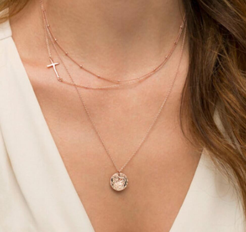 Cross Layer Necklace - Ashley Jewels