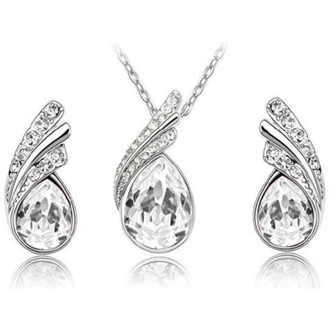 Angel Tear Drop Austrian Crystal Pendant & Earring Set - Ashley Jewels - 1