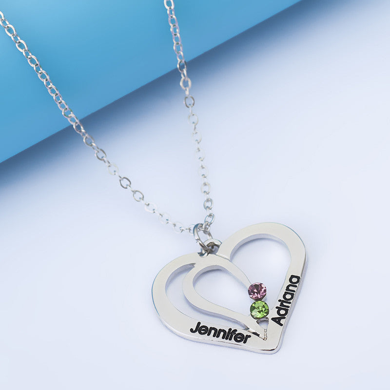 Personalized Double Heart Crystal Pendant - Ashley Jewels - 1