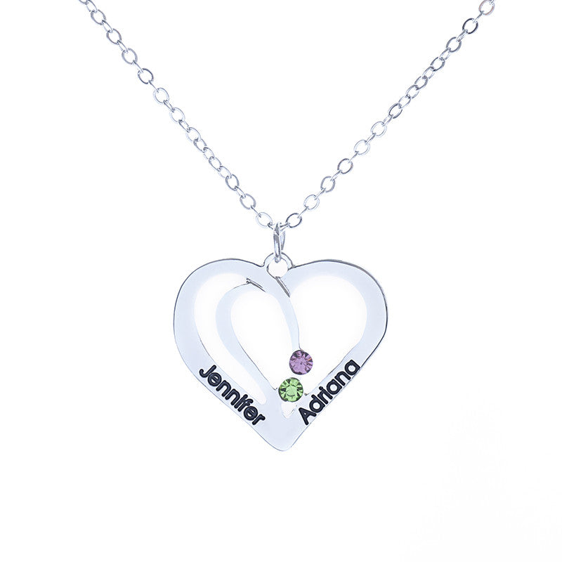 Personalized Double Heart Crystal Pendant - Ashley Jewels - 2