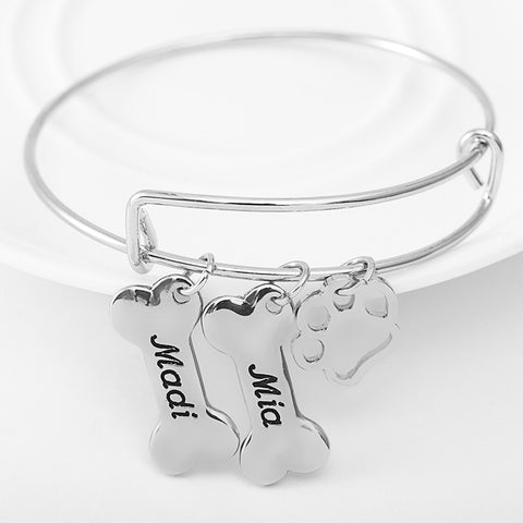 Personalized Dog Paw Charms Bangle - Ashley Jewels