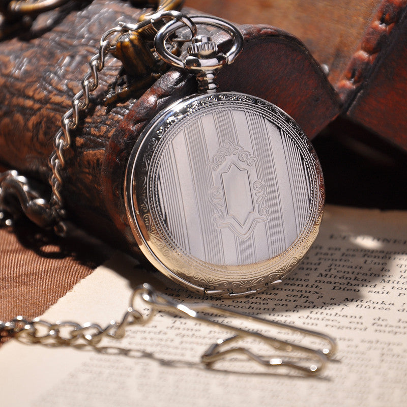 Silver Shield Full Hunter Pocket Watch - Ashley Jewels - 1