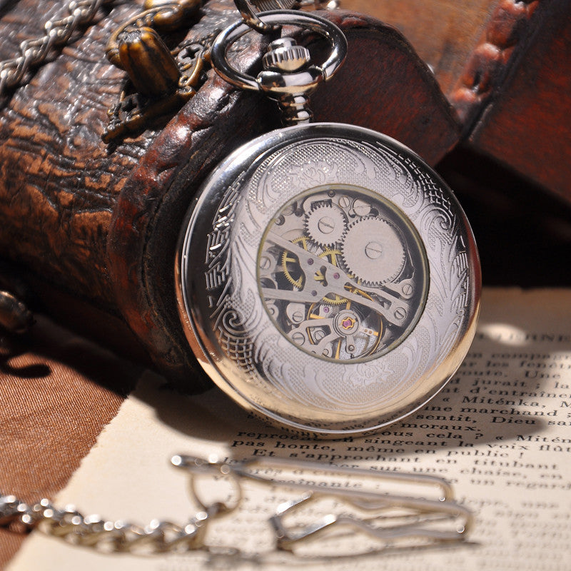 Silver Shield Full Hunter Pocket Watch - Ashley Jewels - 2